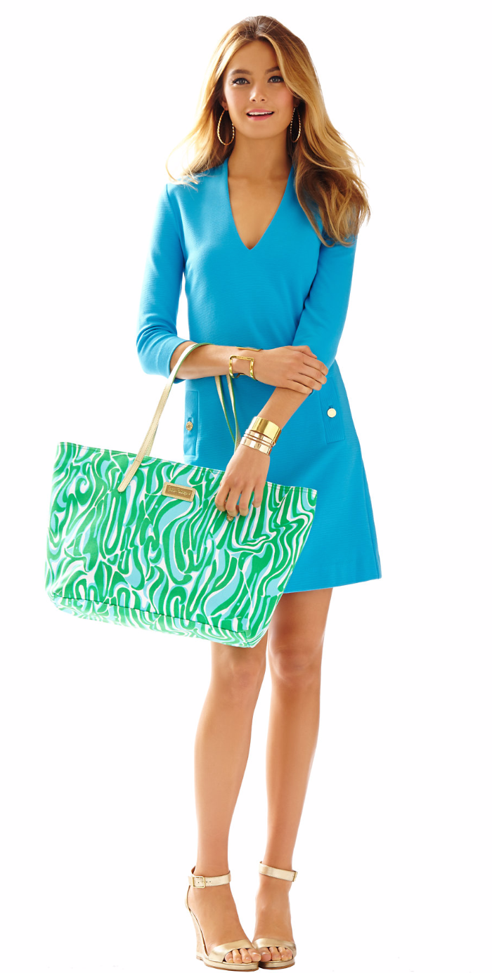 LILLY PULITZER CHARLENA DEEP V-NECK KNIT SHIFT DRESS