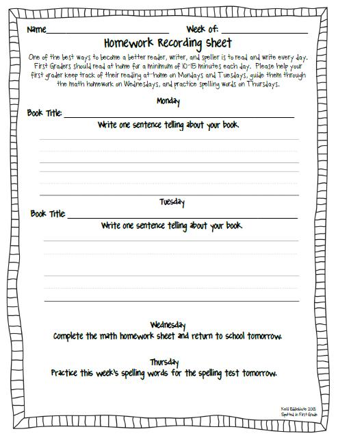 First grade homework sheet
