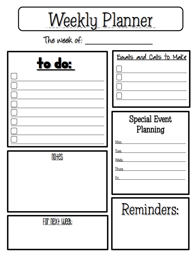 Free Printable Teacher Weekly Planner