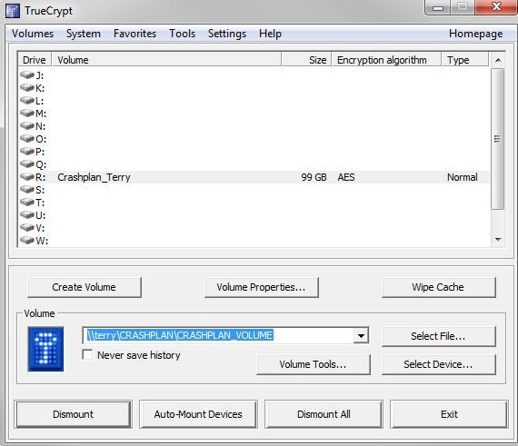 Unable to connect to the truecrypt device driver