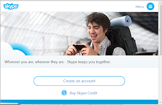 Skype's homepage in a tablet browser