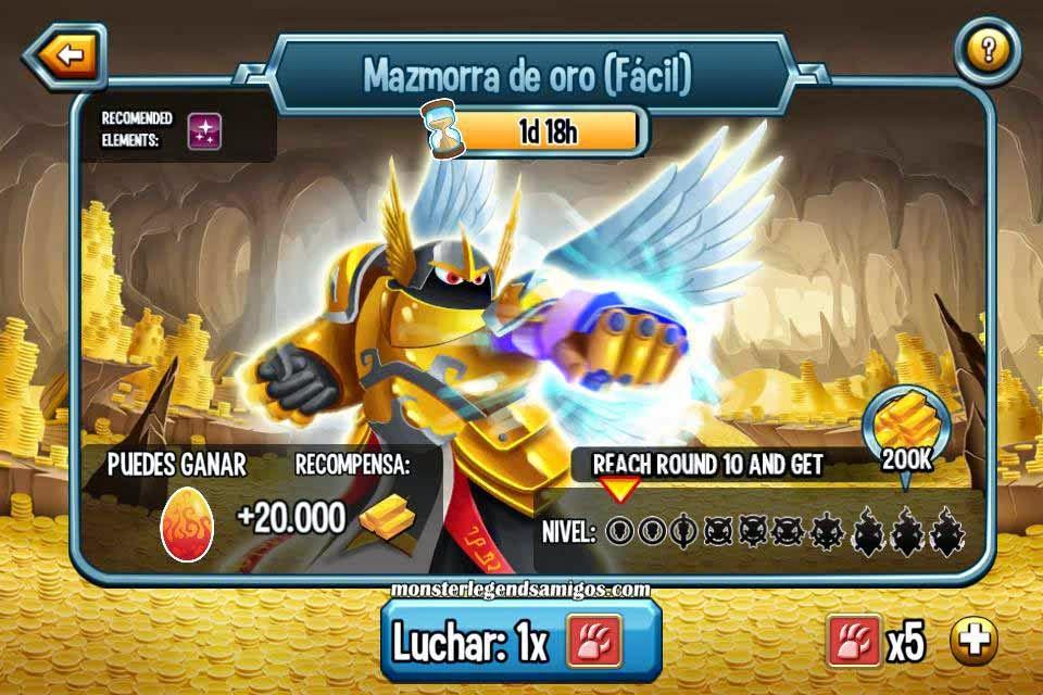 imagen de la mazmorra de oro de monster legends
