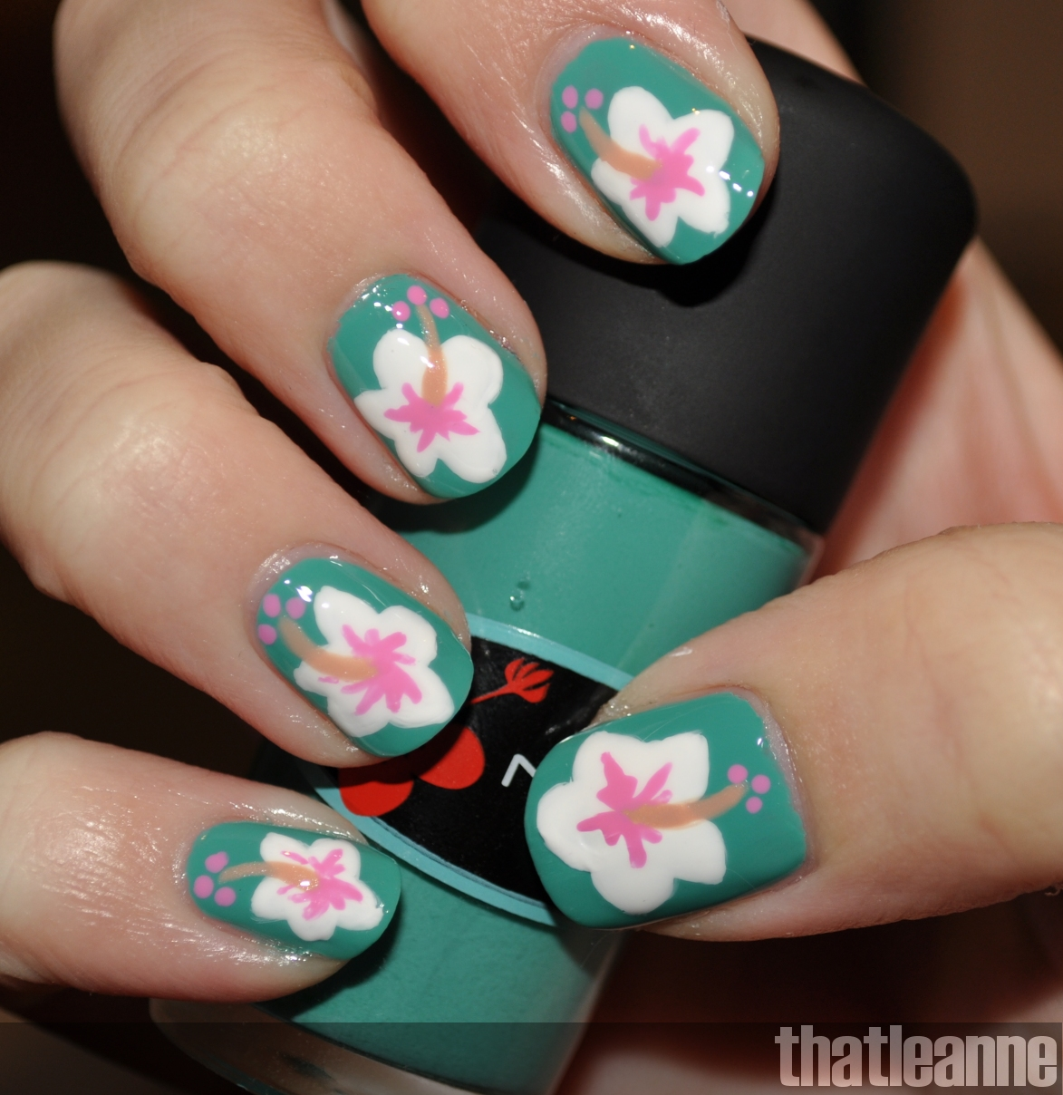 Thatleanne Mac Surf Baby Nail Polish Swatches Hibiscus Nail Art