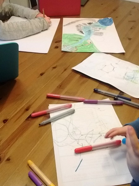 Kids Drawing at The Kitchen Table - Our Handmade Home