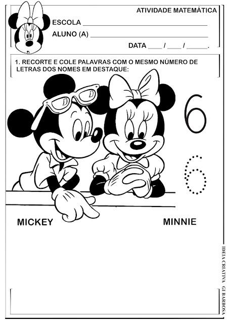 Atividade Matemática Infantil Numeral 6 Mickey e Minnie