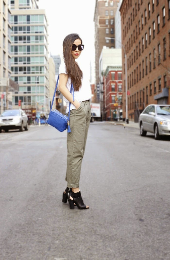 Karen Walker super duper sunglasses, Gigi new york madison crossbodybag, spendid white tee, asos khaki utility pants, missguided lightweight navy coat, baublebar rings, baublebar 360 pearl studs, dolce vita leka boots, spring outfit, streetstyle, nyc, fashion blog