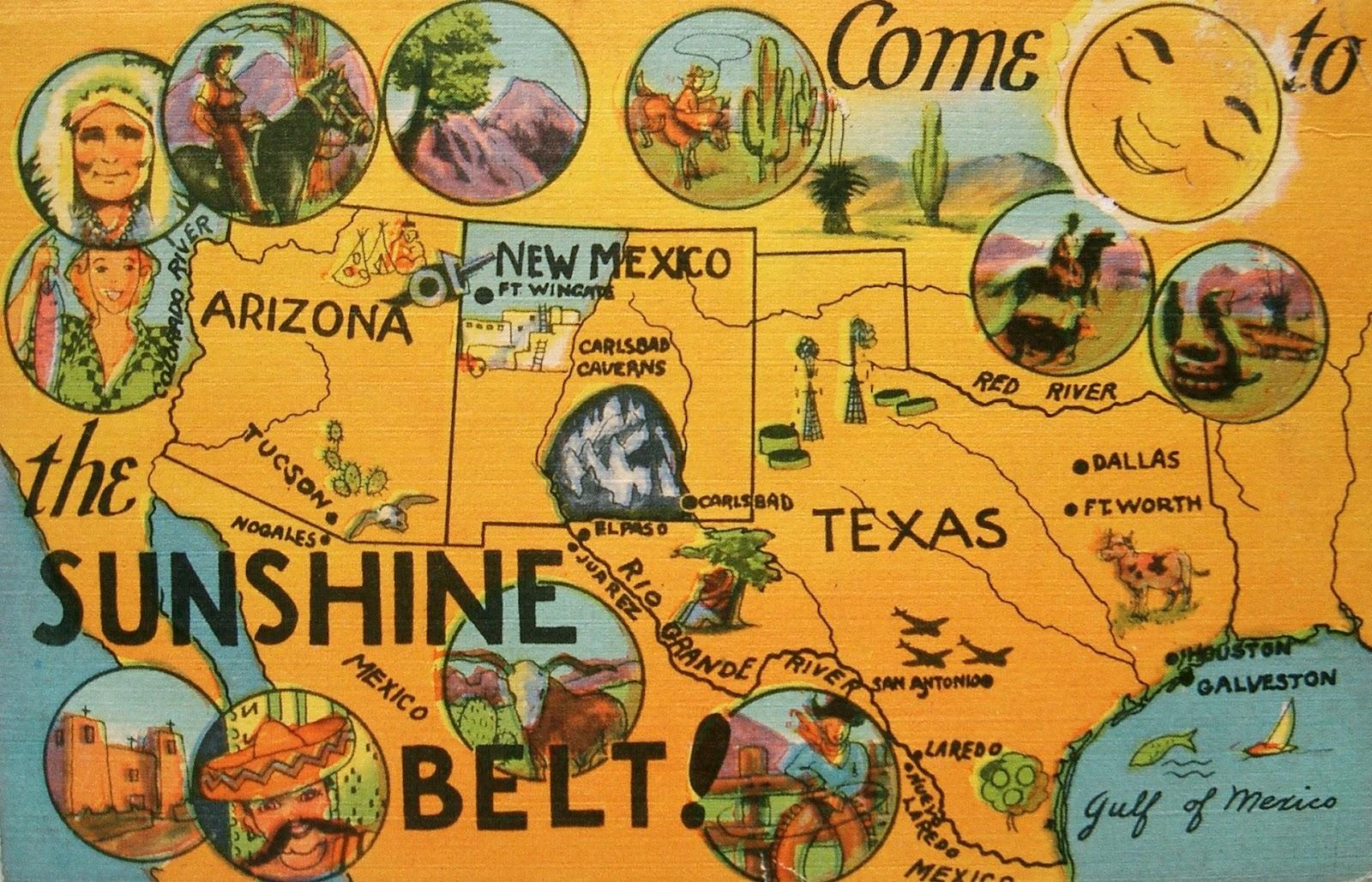 Postcardiva Postcard Blog Vintage US MAP Postcards - Sun map us