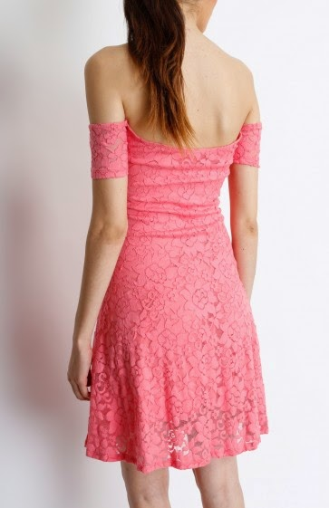 Coral Off Shoulder Sweet Heart Laced Dress Coral