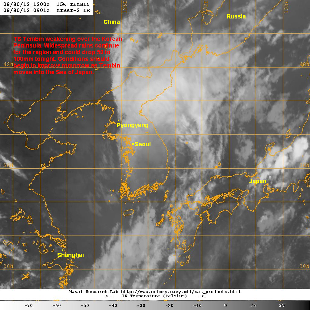 latest satellite image shows tembin starting to degrade significantly as it traverses the korean peninsula the core of the system is beginning to erode and