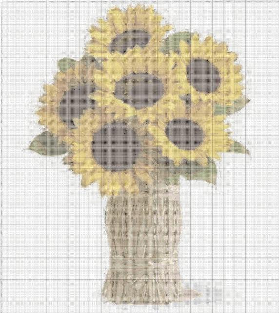Gambar Pola Kristik Rangkaian Bunga Matahari