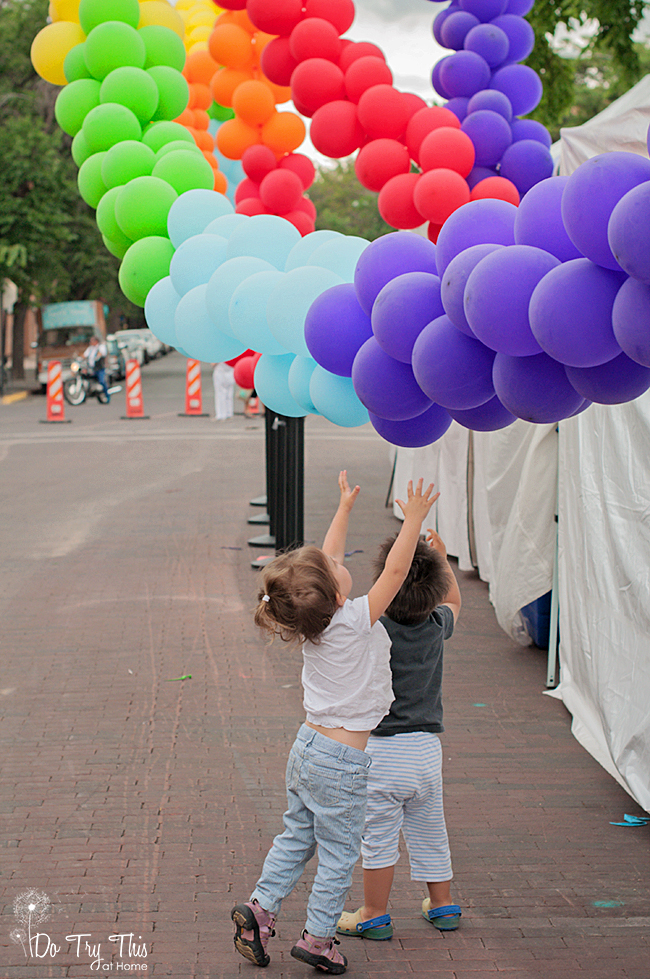 Pride balloons in Santa Fe, New Mexico