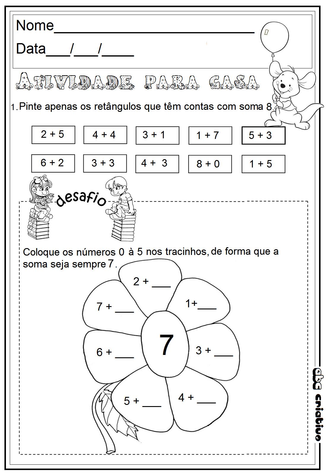 Atividade de matemática 1 ano