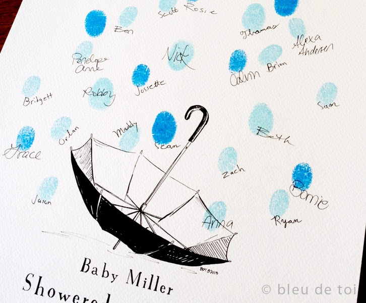 Come Stand Under Our Umbrella: Presenting Baby Shower Umbrella With  Thumbprint Raindrops