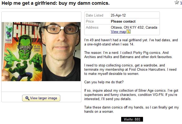 Nerd selling comics wants a girlfriend