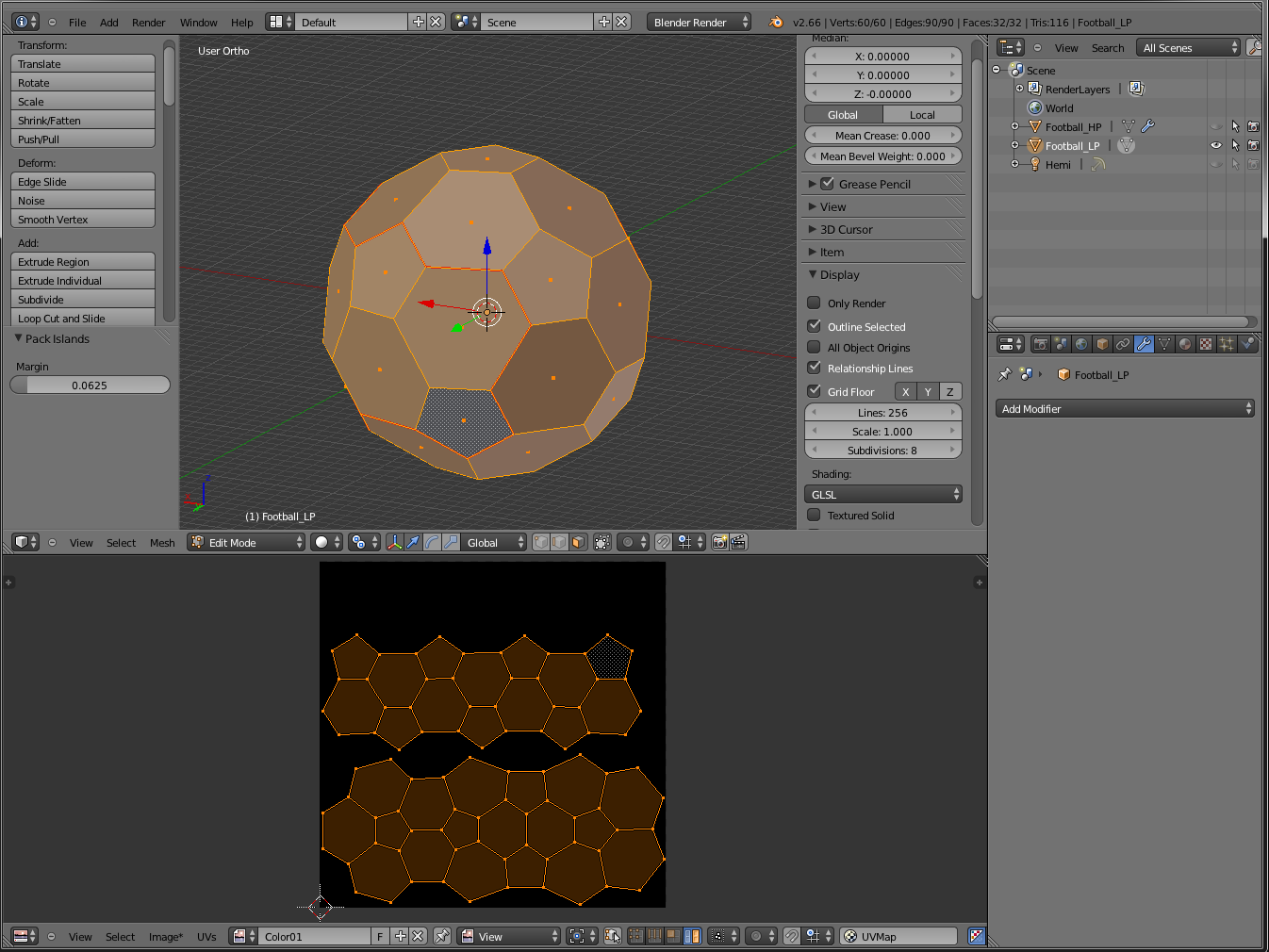 3d modeling texturing blender modeling a football in for 3d object editor