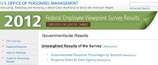 Screenshot of the 2012 Federal Employee Viewpoint Survey website
