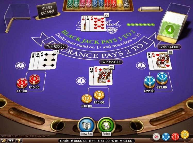 Unibet Blackjack Screen