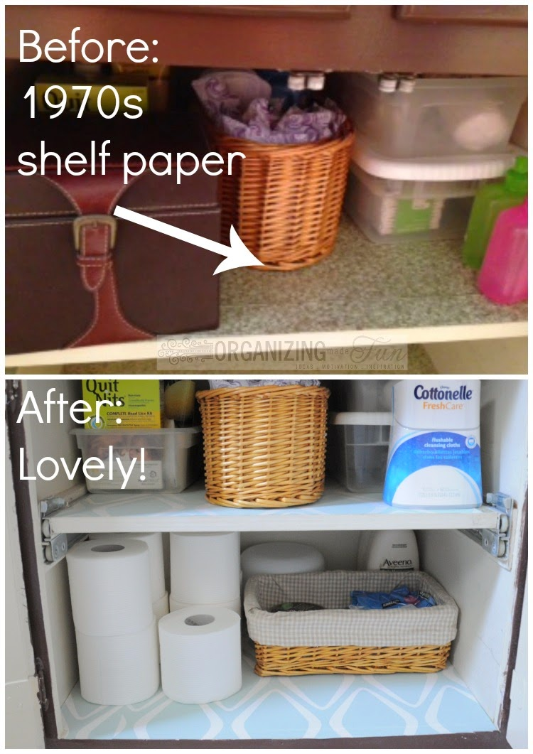 Shelf paper makes a huge difference inside a cupboard :: OrganizingMadeFun.com