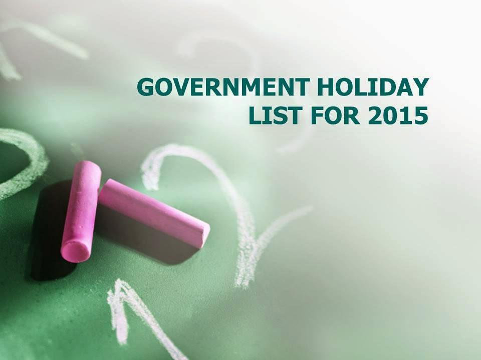 Holiday List 2015