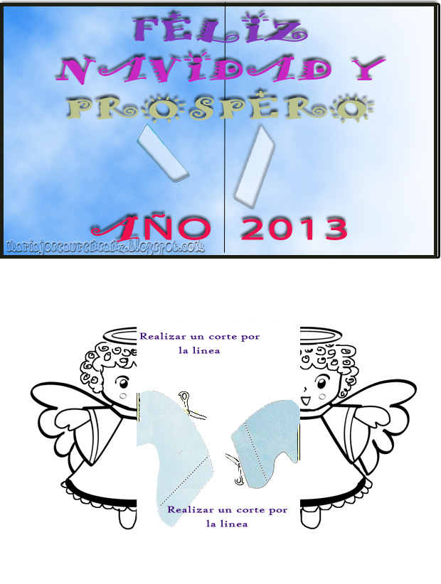 Plantilla pop up Angel en movimiento tarjeta navidad 2013 por Mj Aurensanz