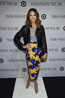 Jessica Alba in a black minimal moto jacket at Who What Wear x Target Launch Party red carpet dress