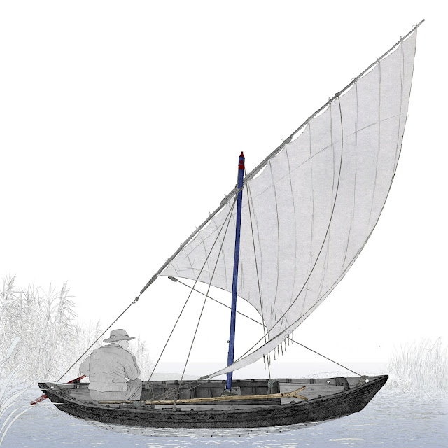 Vela latina, navegacion, albufera, Valencia, dibujo