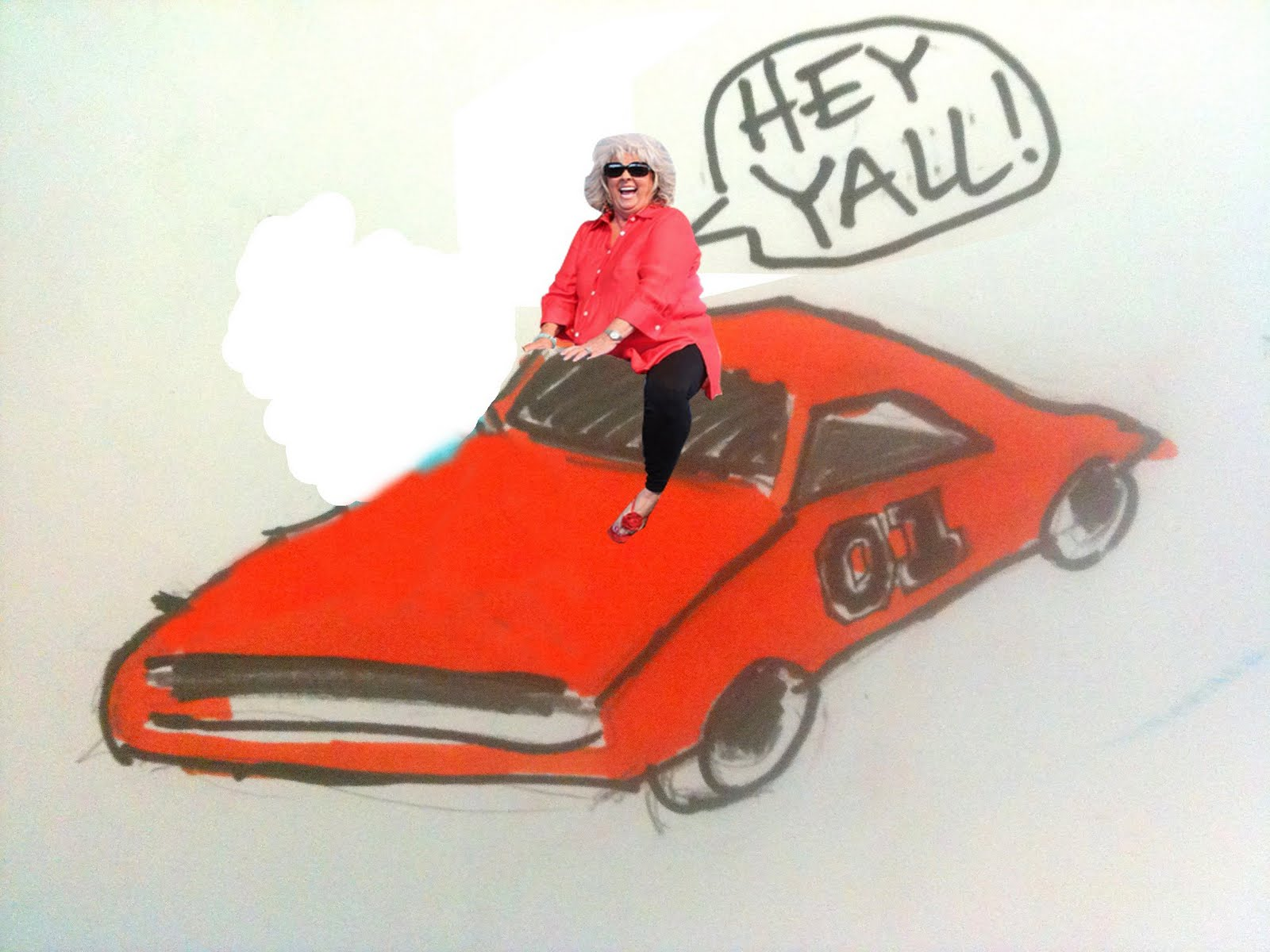 tell me what to draw paula deen riding the general lee. Black Bedroom Furniture Sets. Home Design Ideas