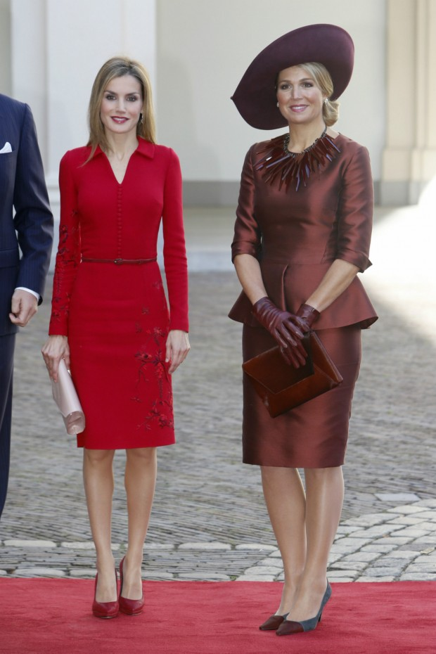 Queen Maxima of the Netherlands and Queen Letizia of Spain at The Noordeinde Palace