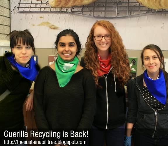 Volunteers get ready to Guerilla Recycle at the University of Ottawa