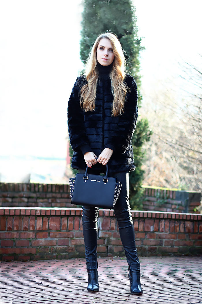 faux fur coat, Michael Kors Selma studded satchel, total black outfit, leather pants