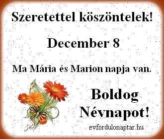 December 8 - Mária, Marion névnap