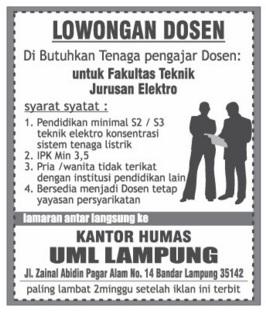 Karir Terbaru di Lampung sebagai DOSEN