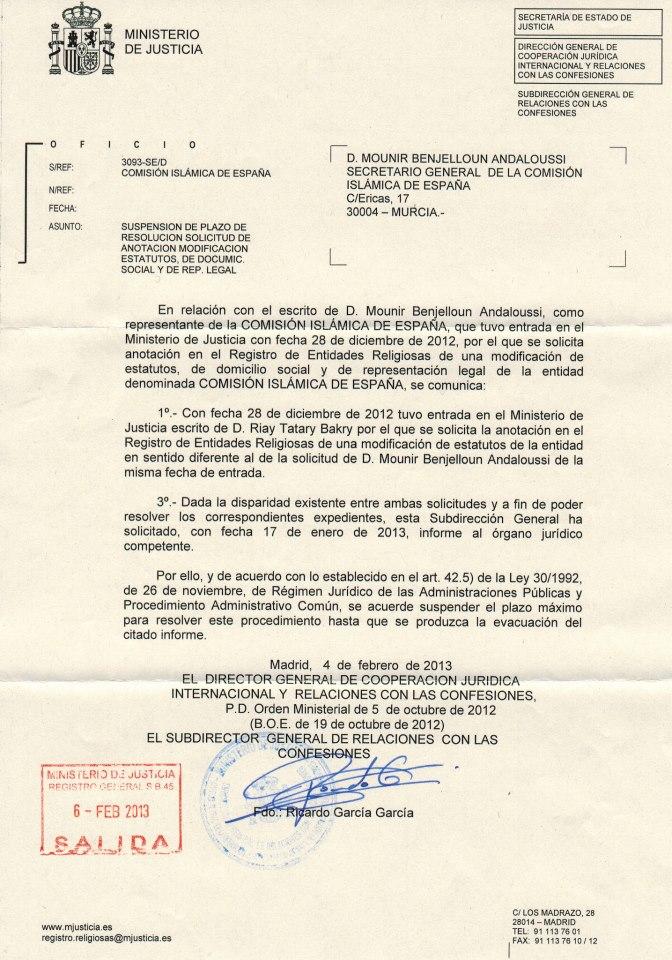 Islam en murcia el ministerio de justicia frena a la for Ministerio de seguridad espana
