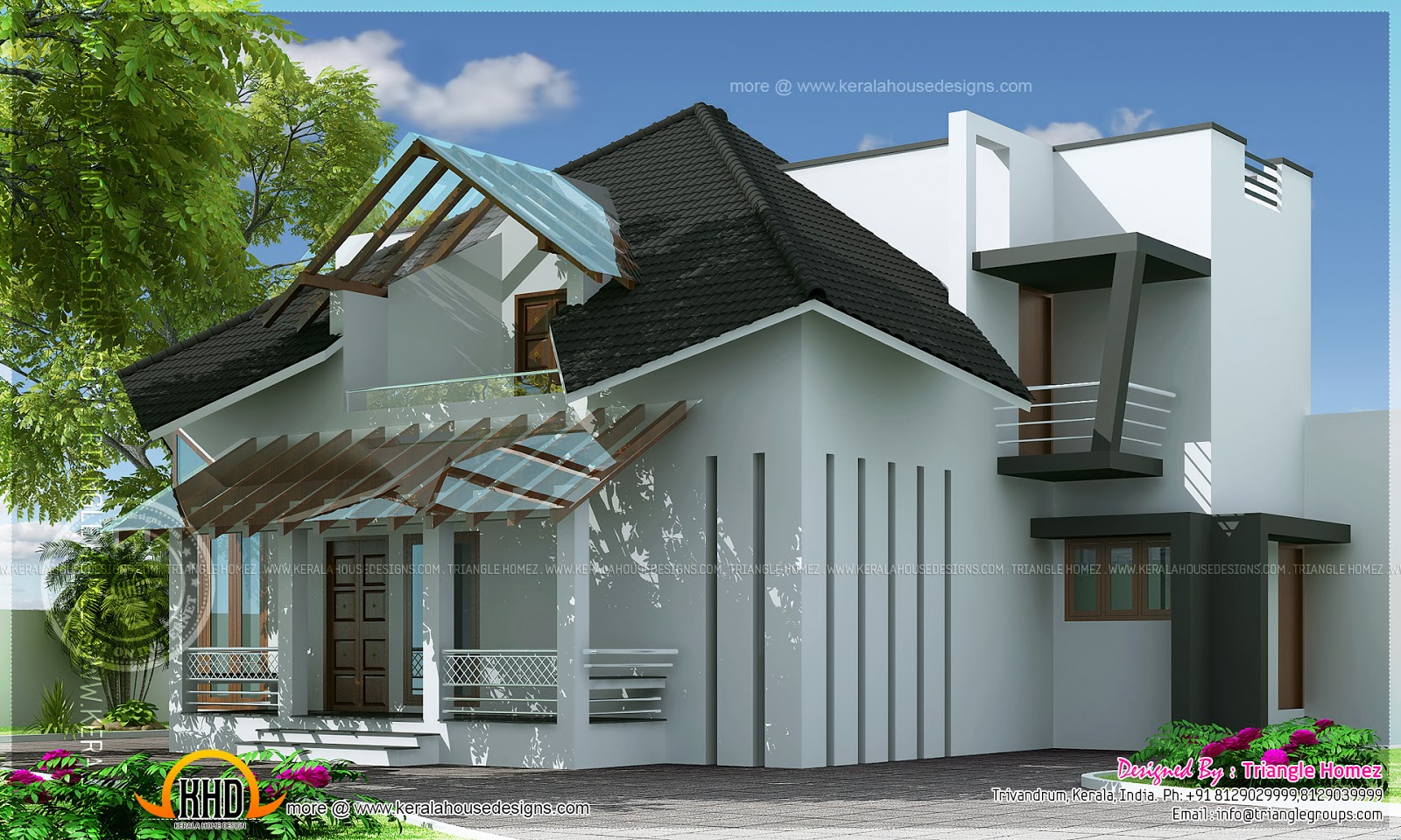 Two faced modern estate bungalow kerala home design and for New bungalow style homes