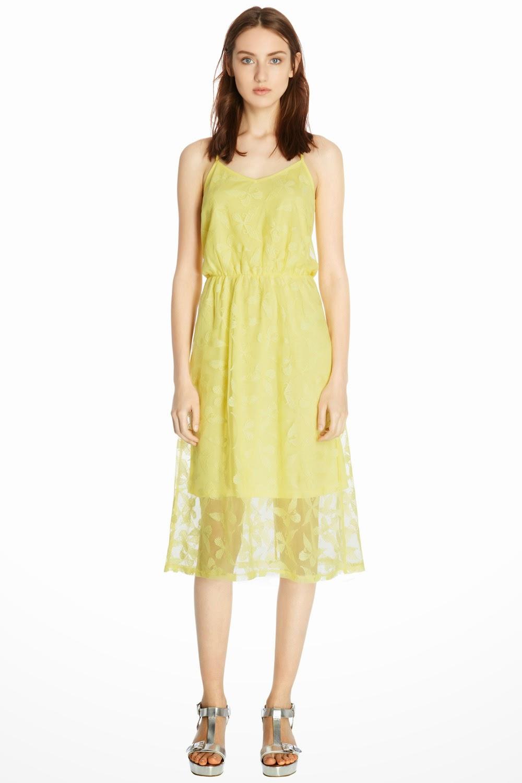 warehouse yellow lace dress
