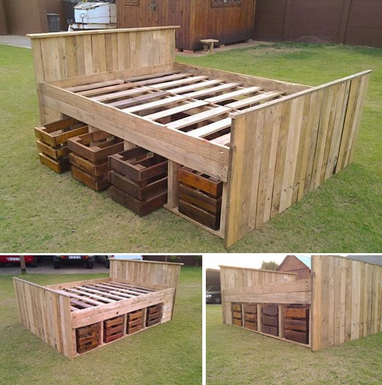 Pallet Bed With Storage Bed Created From Pallets