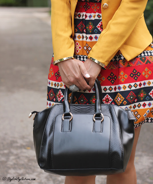 Aztec print Dress, Yellow Blazer, Slim fit Blazer, Mustard Heels, Crocodile Black Bag