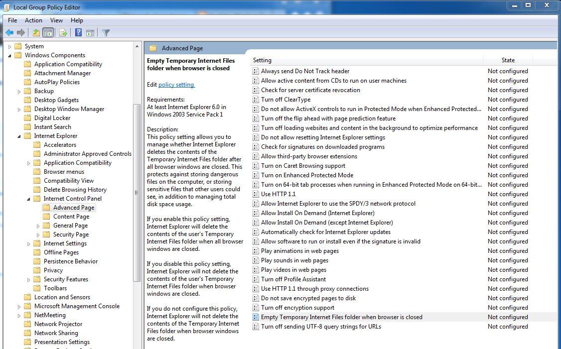user configurationadministrative templateswindows componentsinternet explorerinternet control paneladvanced pageempty temporary internet files folder
