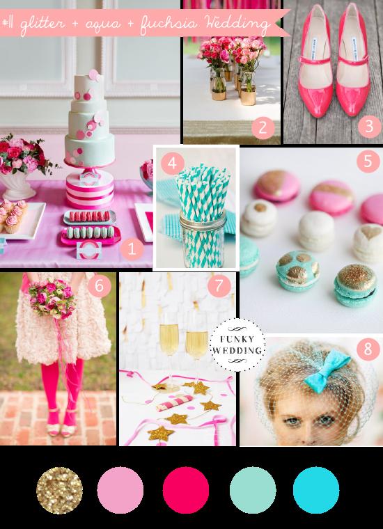 Wedding inspiration board, glitter + aqua + fuchsia wedding