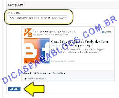 Criar código para incorporar post do Facebook