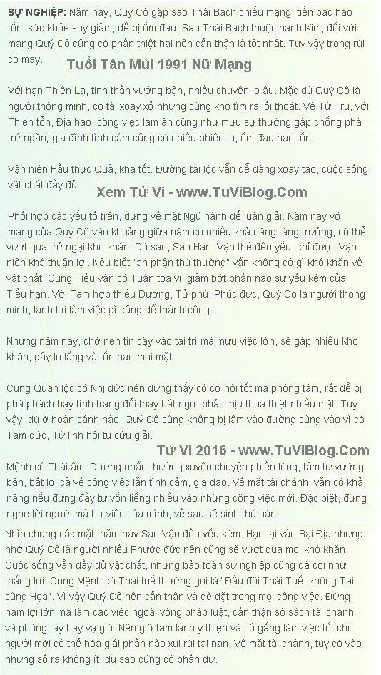 Tu Vi 2016 Tan Mui 1991 Nu Mang