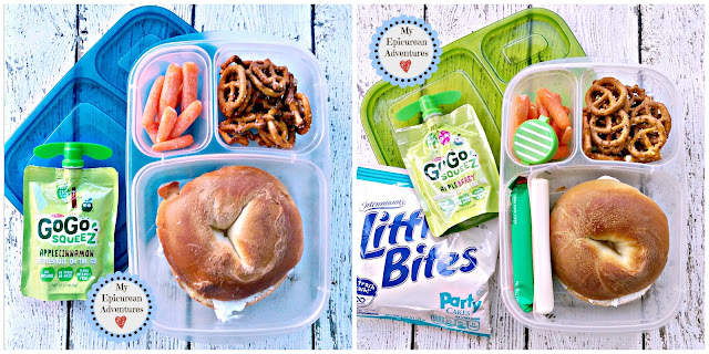 My Epicurean Adventures: Lunch Box Fun 2015-16: Week #16 - Bagel Lunch. Lunch box ideas, school lunch ideas, lunches