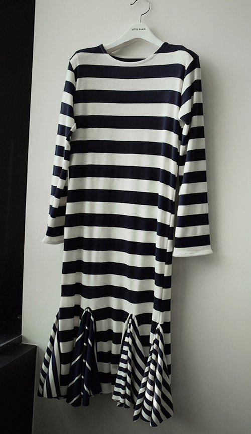 Godet Striped Dress