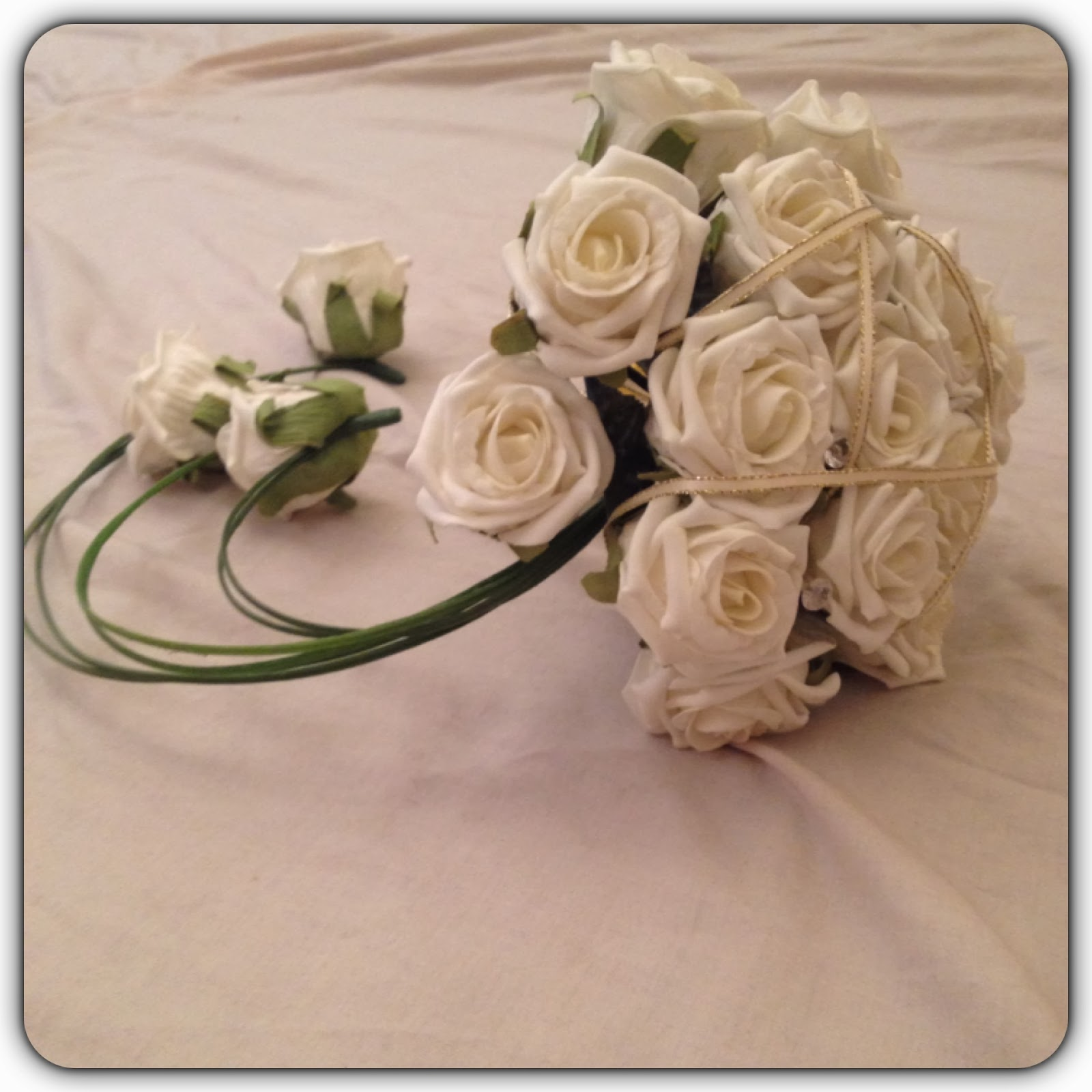 artificial white roses