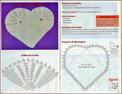Gráfico para crochê em forma de coração