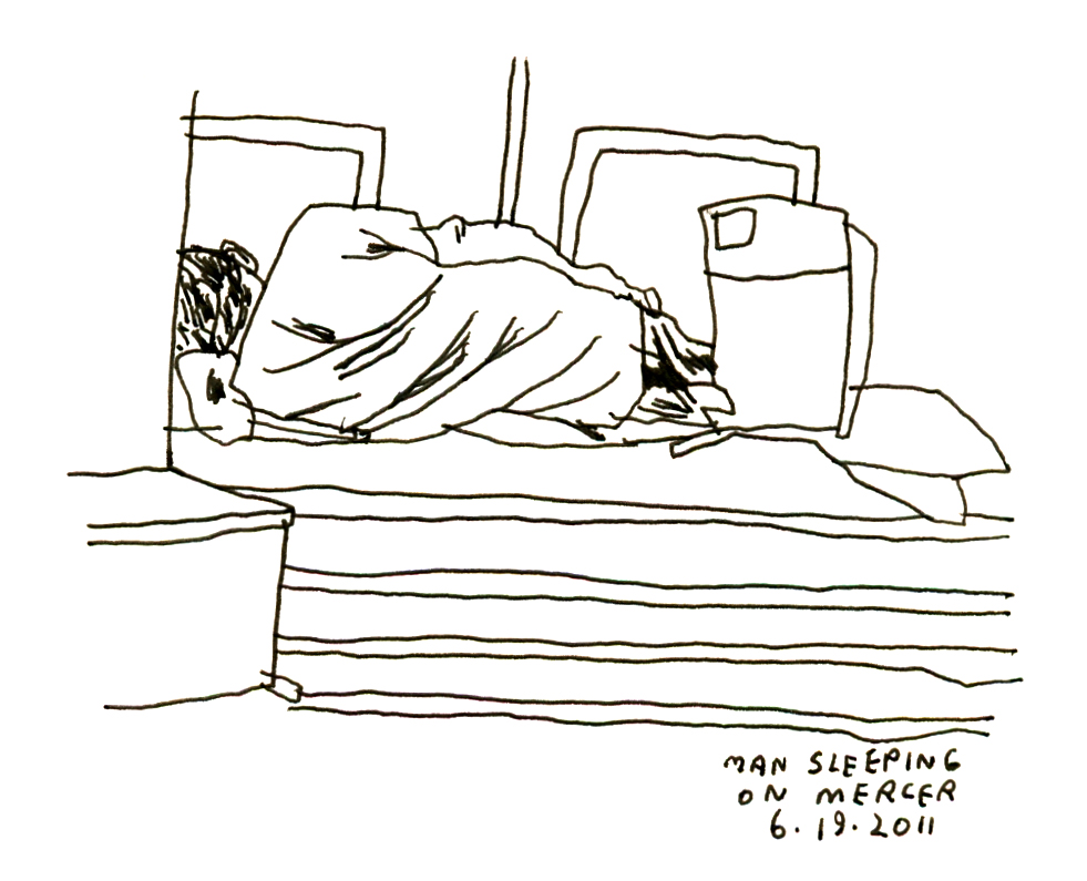 Man sleeping in bed drawing