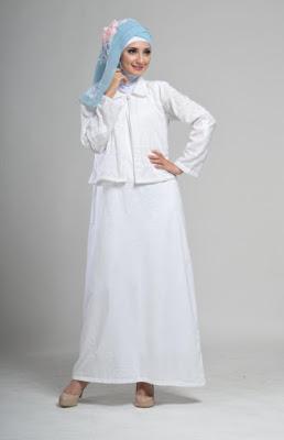 Gamis Bolero Bordir Warna Putih Polos