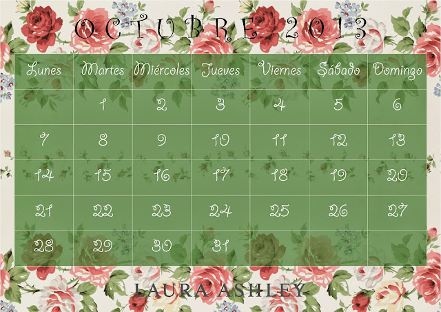 calendario octubre 2013 laura ashley flores clarissa rosas