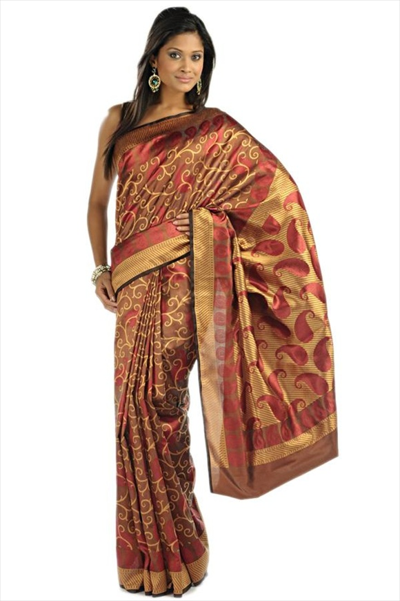 Cocoa Brown Polyester Banarasi Saree