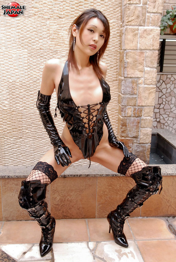 image Japanese leather tgirl assfucked and spunked